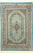 Very Fine Sky-Blue Silk Qum 'Mehdi Arsalani' Rug