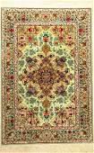 Fine Green 'Silk Ground' Isfahan 'Mohammad Ahmadi' Rug