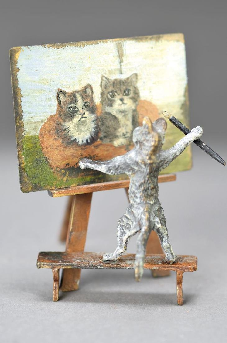 Vienna Bronze, 2.H.20.th. century, cat with easel