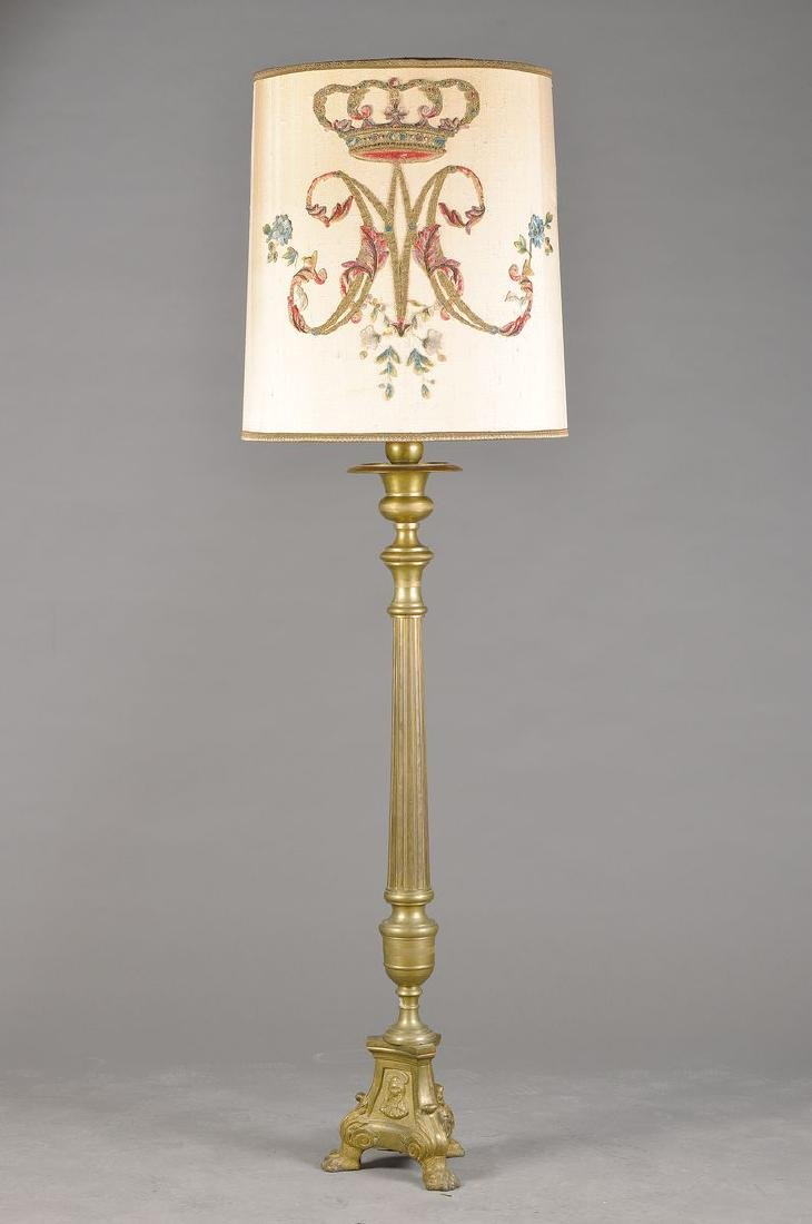 standard lamp, probably German, around 1900, lamp shade