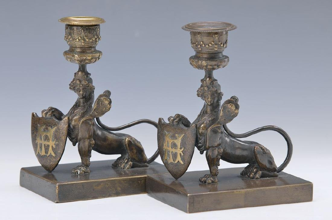 A pair of candlesticks, France, around 1890, Bronze, in