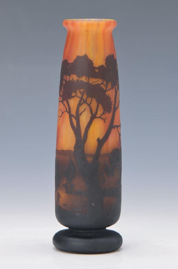 vase, Daum, around 1900, colorless glass, orange red
