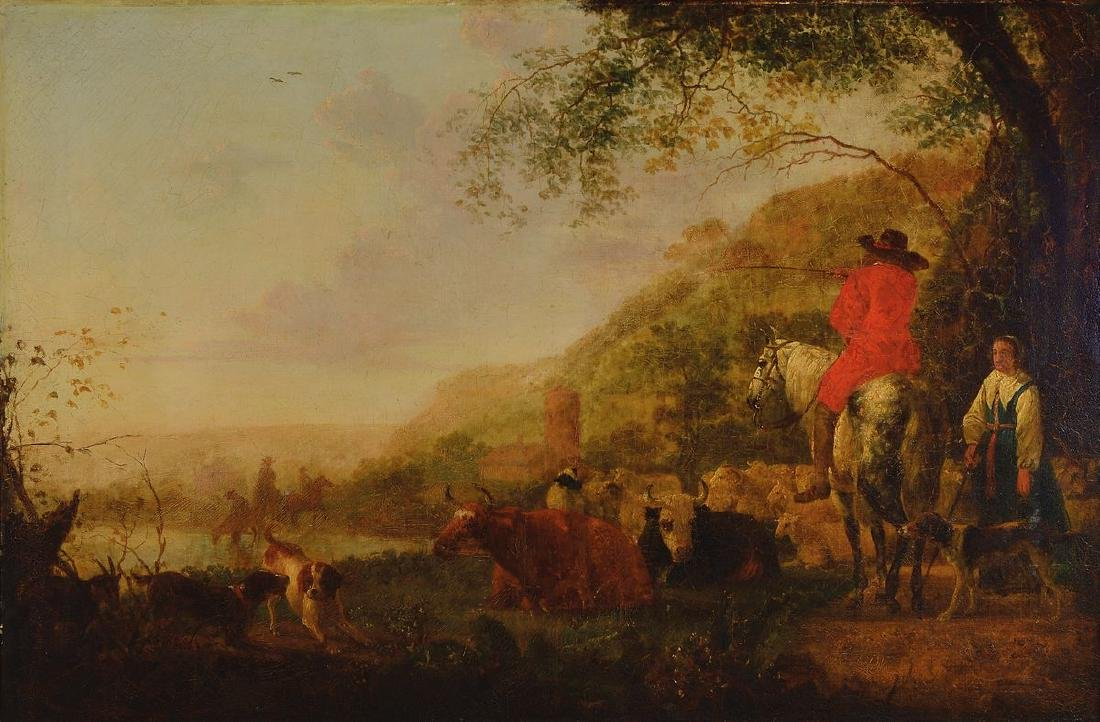 Unidentified artist of the 18th C., Rider asking a
