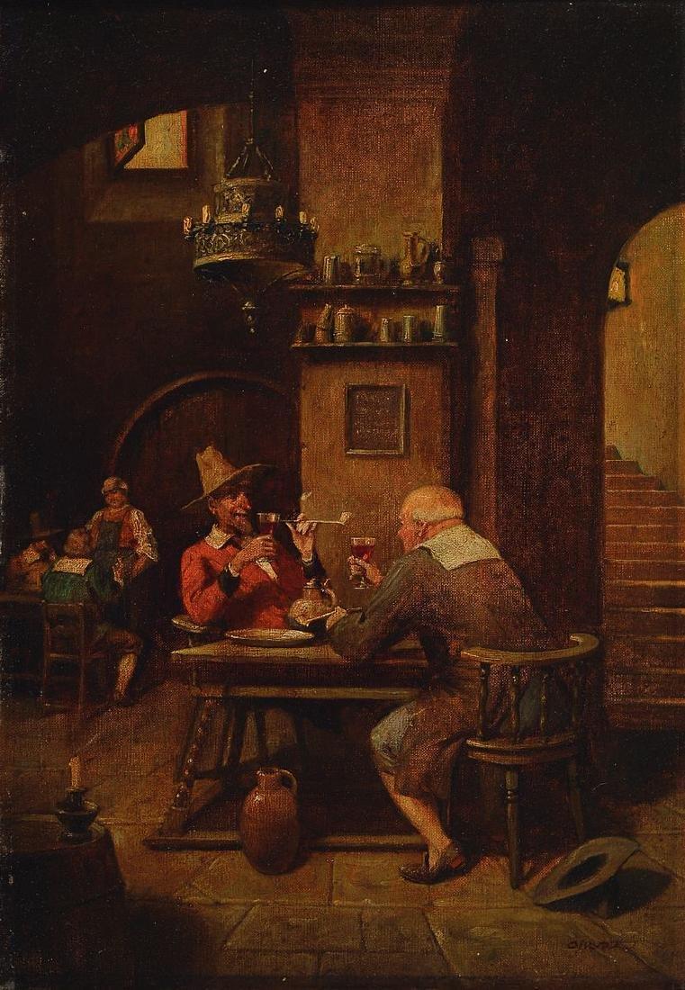 Albrecht (Albert) Kurz, 1858 - 1929, in tavern, oil