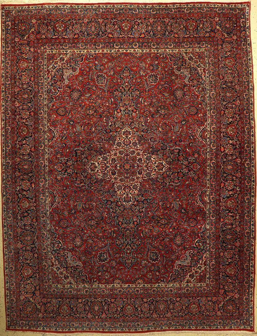 Kashan Carpet old, Persia, around 1930, wool on cotton
