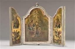 Triptychon, Austria, around 1830, silver setting