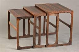 table set/Triset, Denmark, 60/1970s, satinwood and