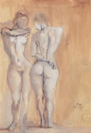 Salvador Dali, 1904-1989, Le Couple Nu, Gouache on