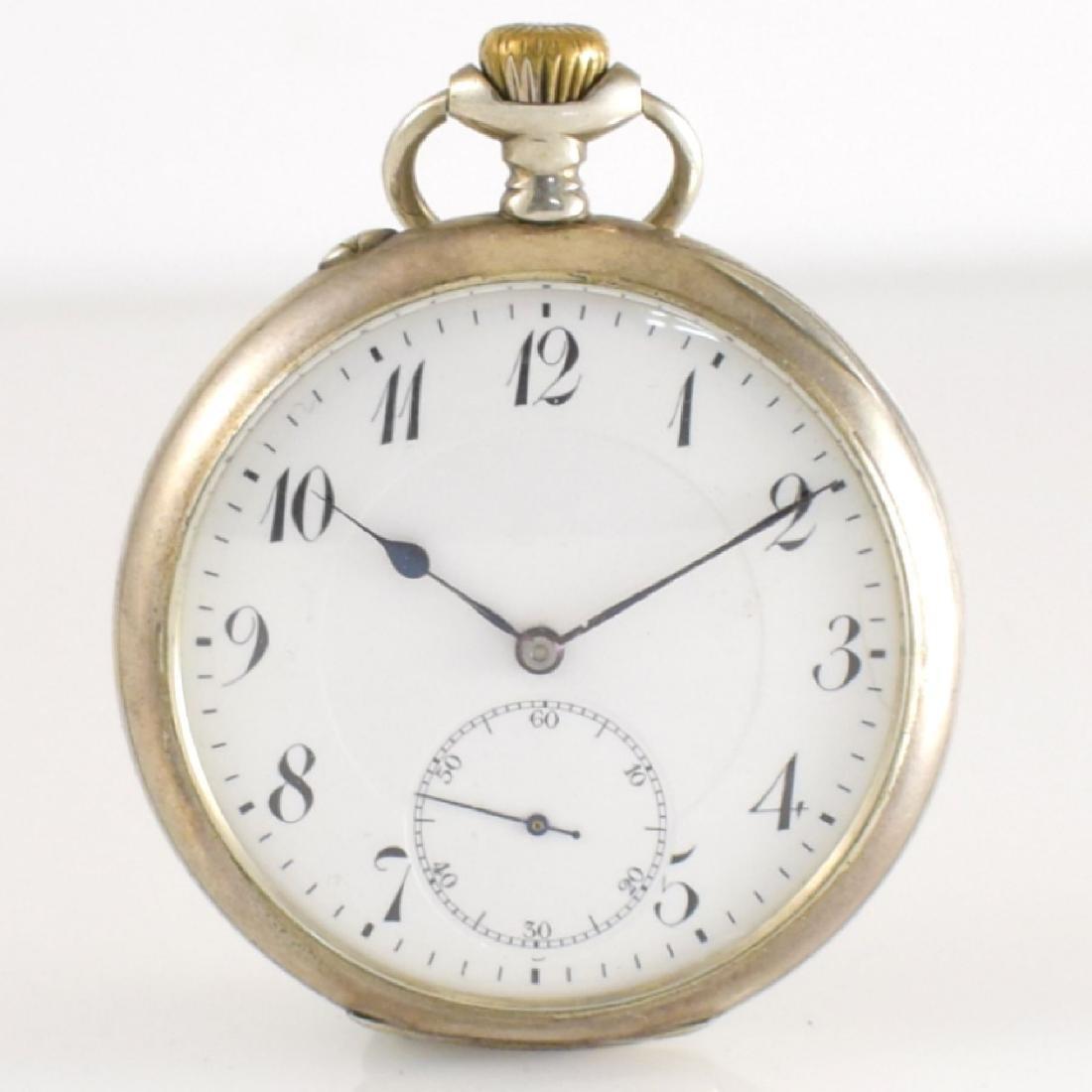 IWC open face pocket watch in silver