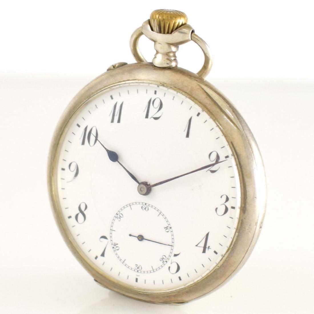 IWC open face pocket watch in silver - 3