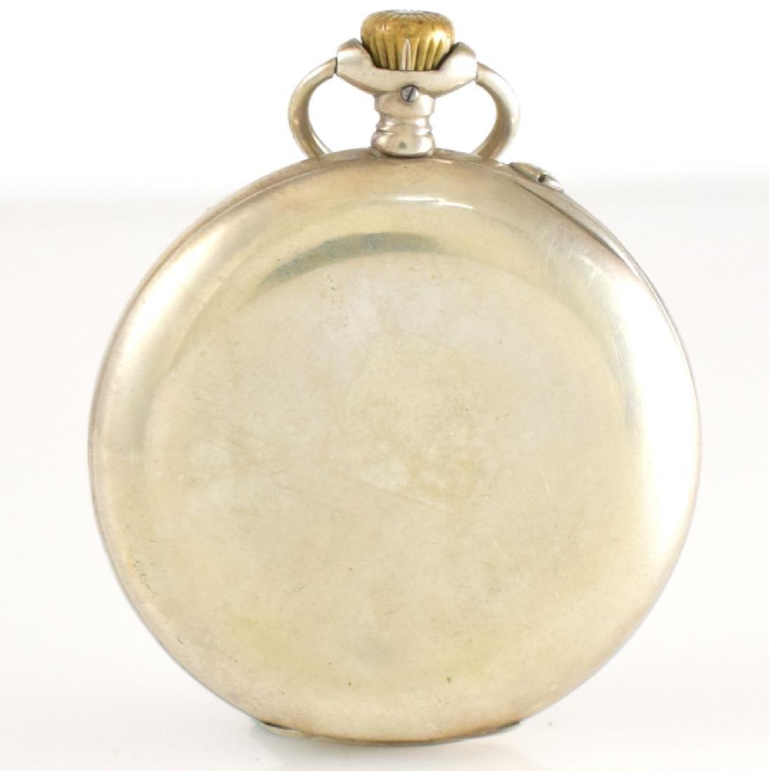 IWC open face pocket watch in silver - 4