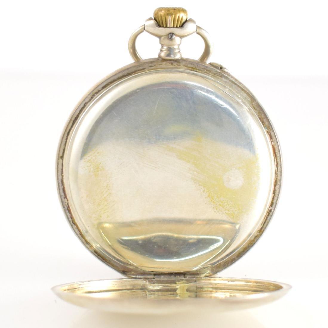 IWC open face pocket watch in silver - 5