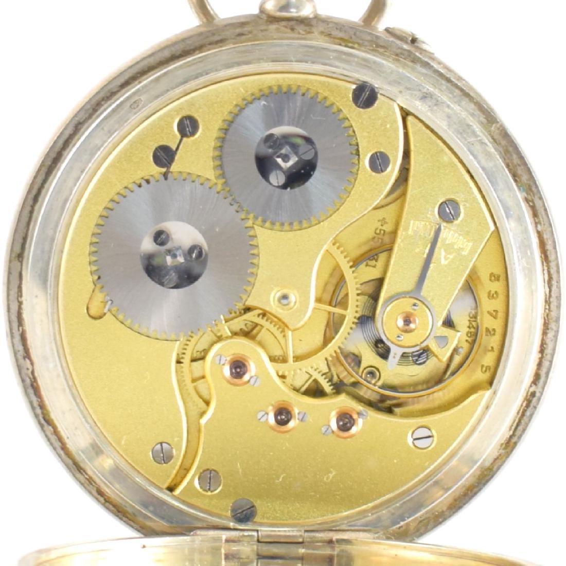 IWC open face pocket watch in silver - 7