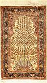 Silk Kaisery rug old, Turkey, approx. 40 years