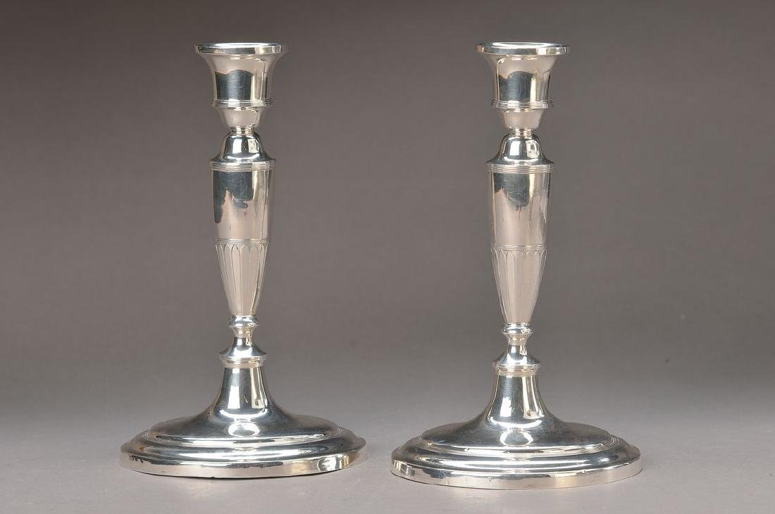 A pair of candlesticks, around 1900, silver plated