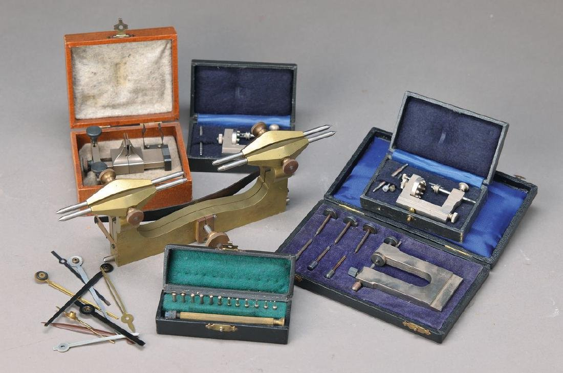 lot of clockmaker's tools, in case: poising tool, 2x