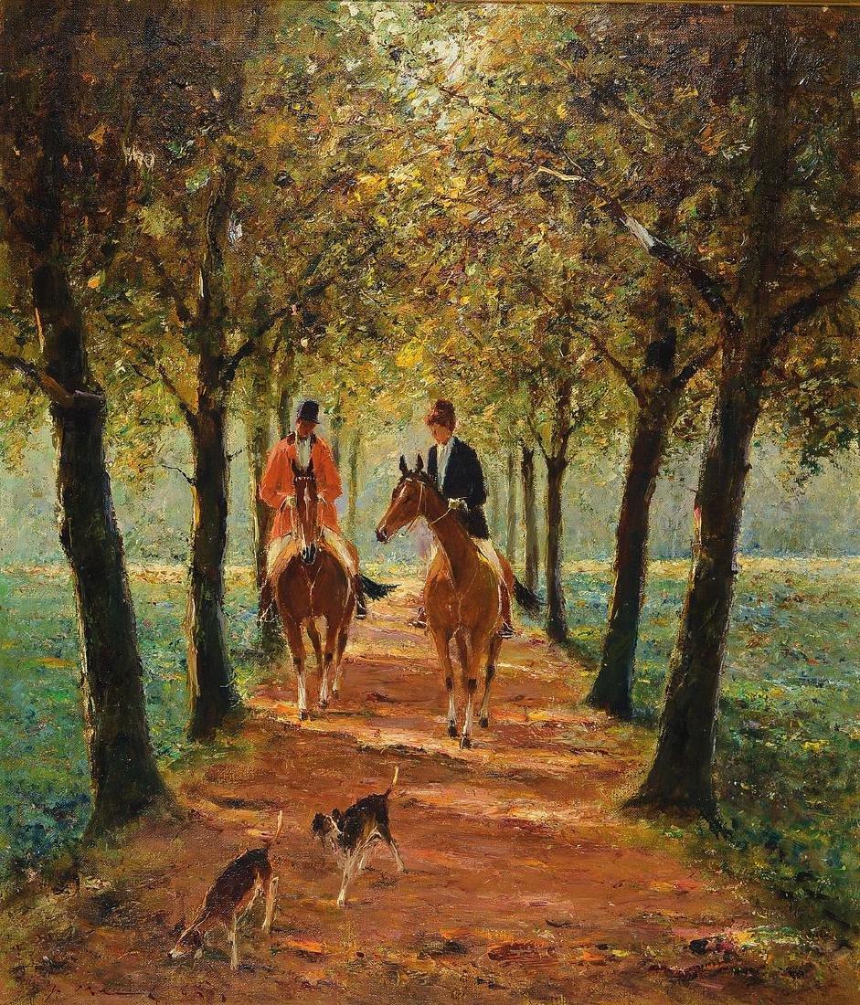 Josef Klarl, 1909-1986, couple riding in an alley, oil