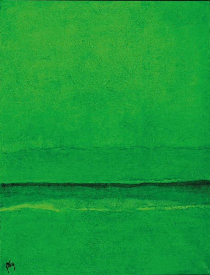 Gaston Gale, abstract composition in green, signed