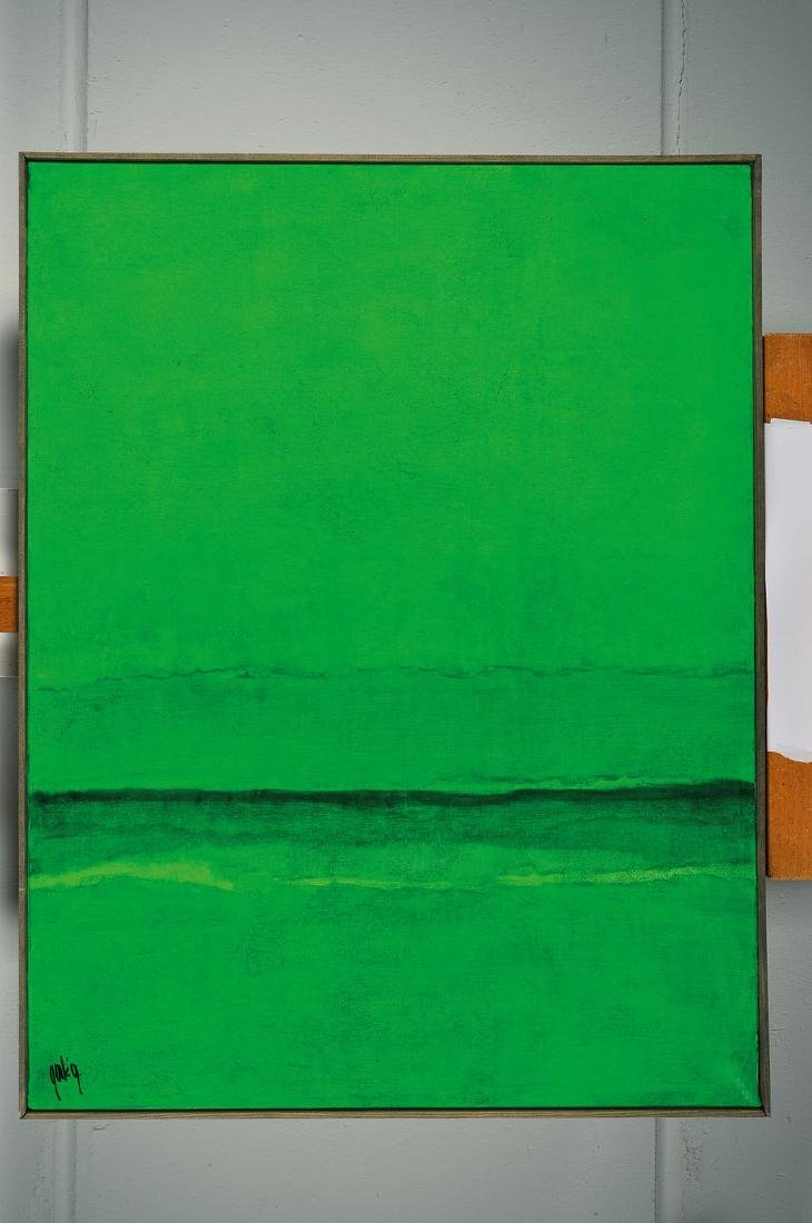 Gaston Gale, abstract composition in green, signed - 2