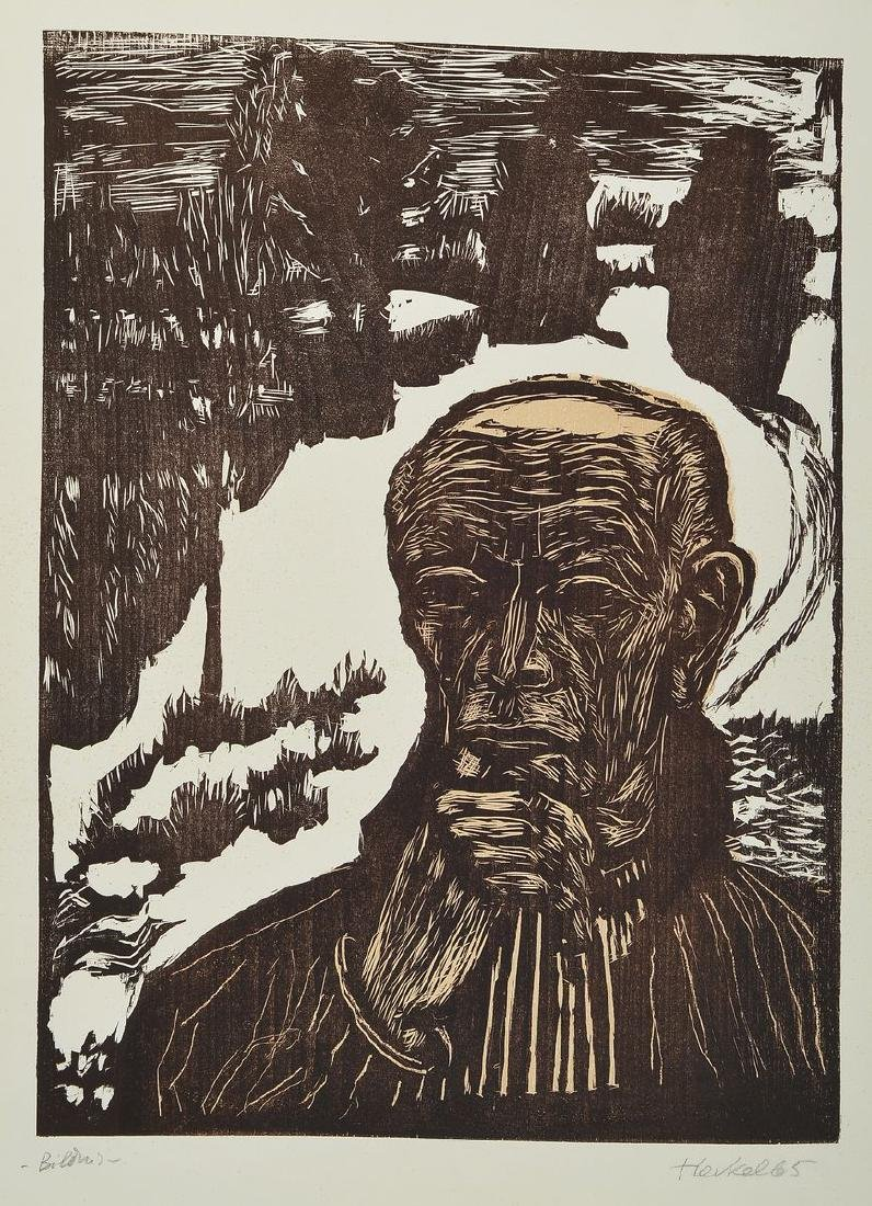 Erich Heckel, 1883-1970, color woodcut, signed