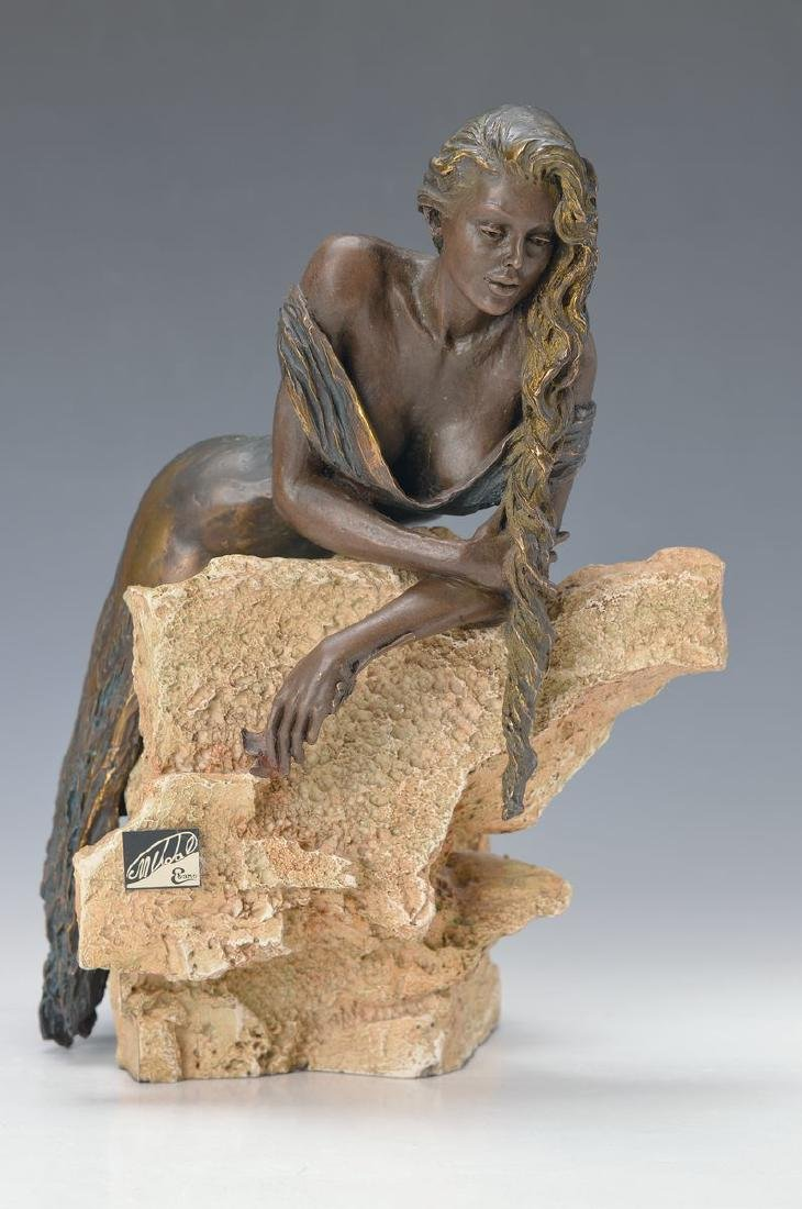 Manuel Vidal born 1953, metal sculpture, woman nude