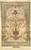 Rare Pure Silk Isfahan 'Saraf' Rug (Signed),