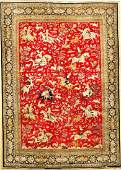 Fine Silk Qum Carpet (Hunting Design),