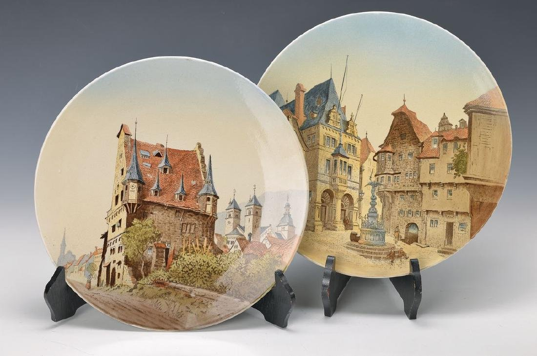 two wall plates, Villeroy & Boch, stoneware: Stadthaus