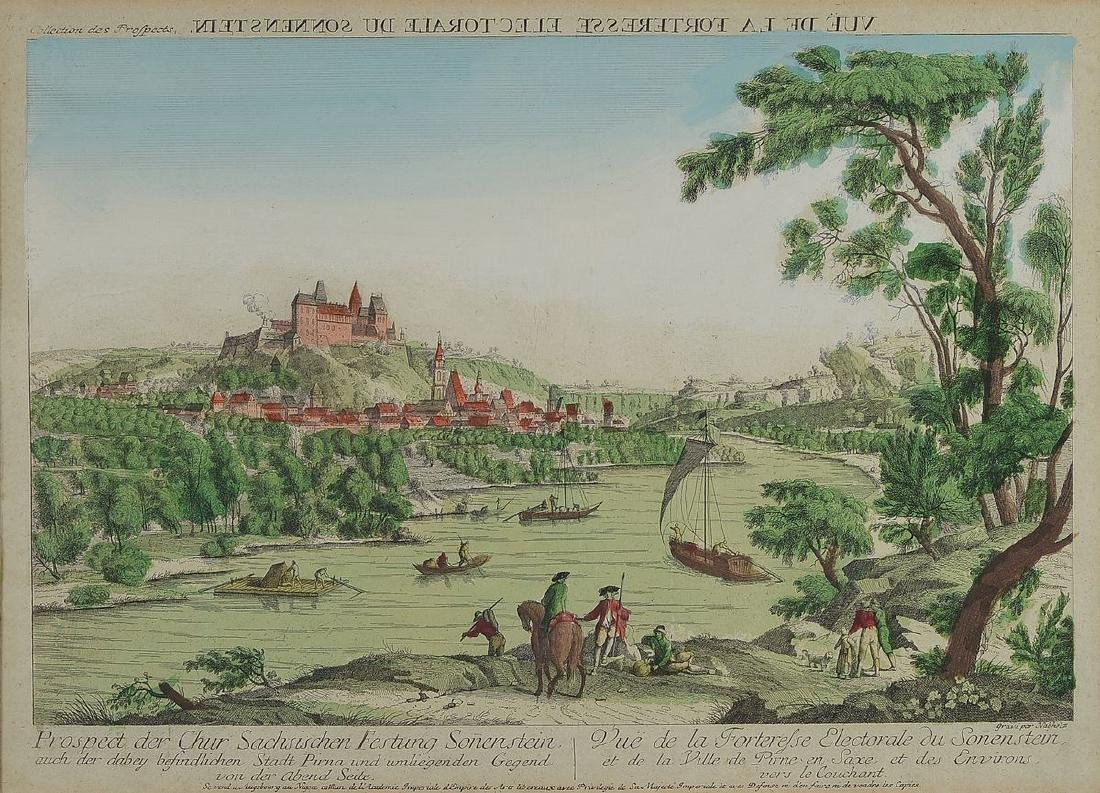 Two peep-box pictures / engravings, Johann Christoph
