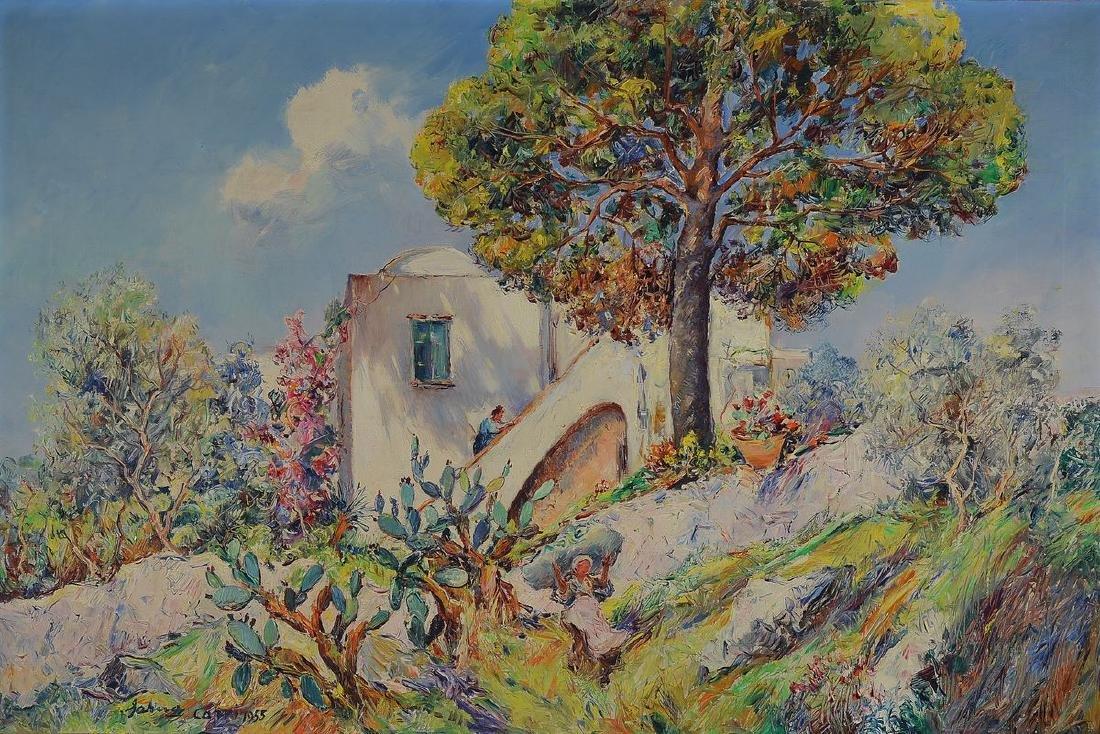 Matteo Sarno, 1894-1957, view from Capri, oil / canvas