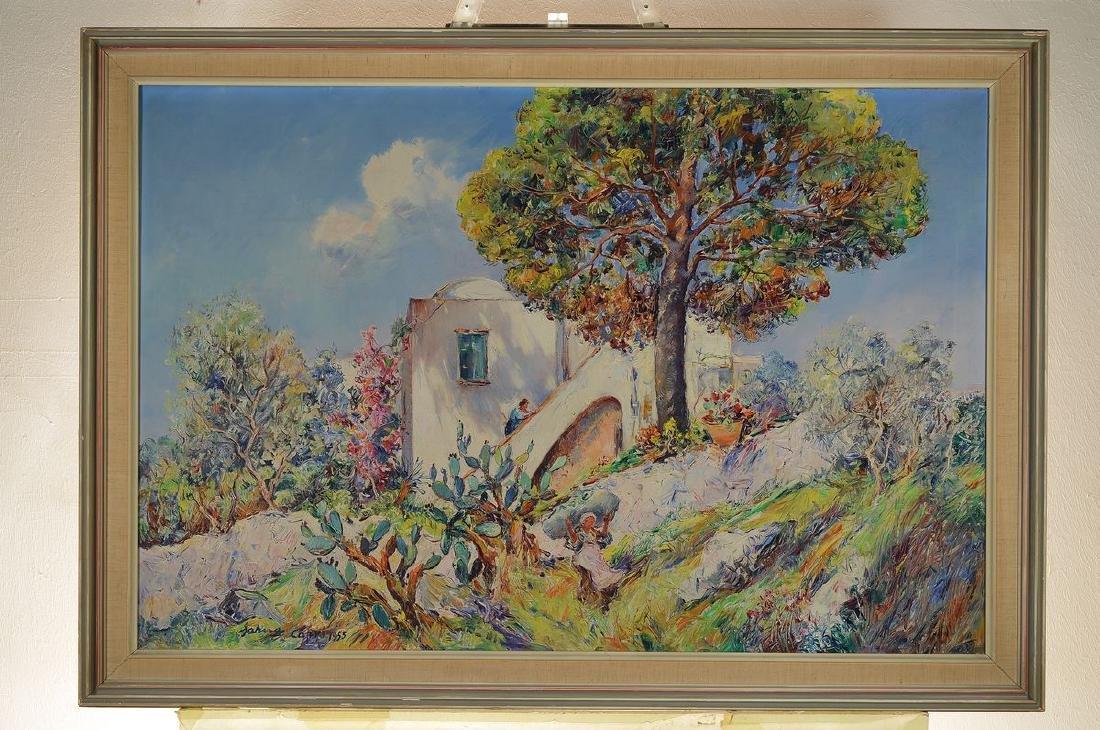 Matteo Sarno, 1894-1957, view from Capri, oil / canvas - 3