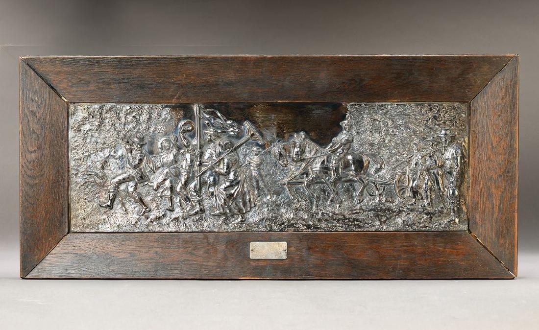 embossment platter, silver plated, Johann Fleckstein