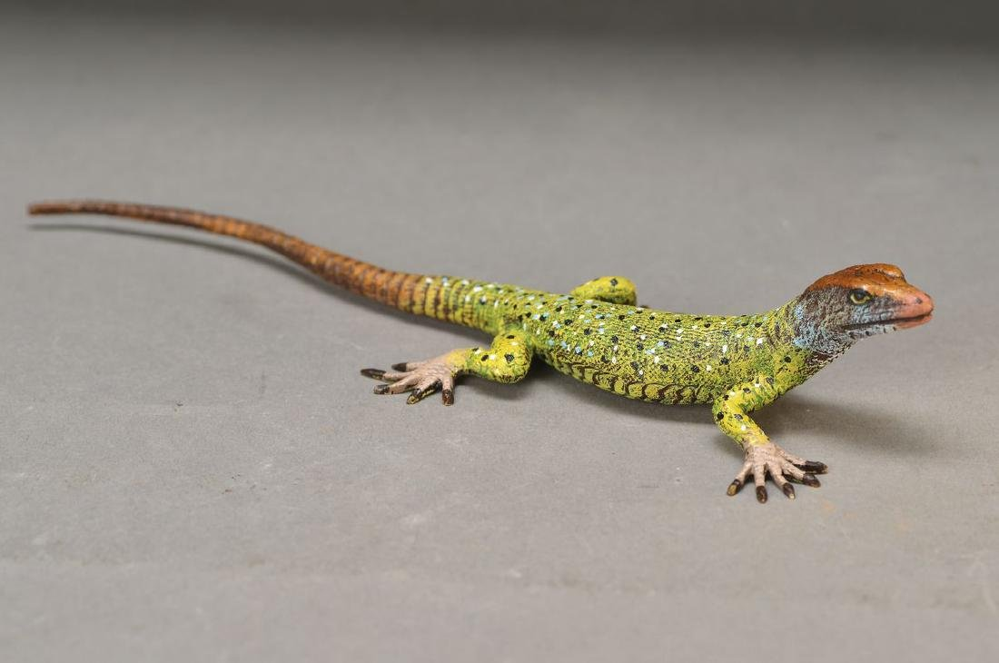 two Vienna Bronzes: lizard, painted, L. 20.5 cm and