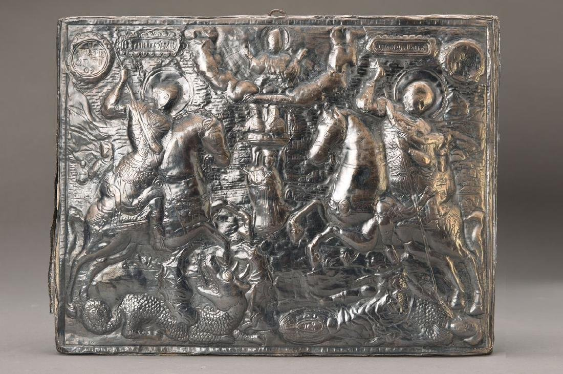 Icon, Russia, 2.h.19.th c., thin embossed sheet silver