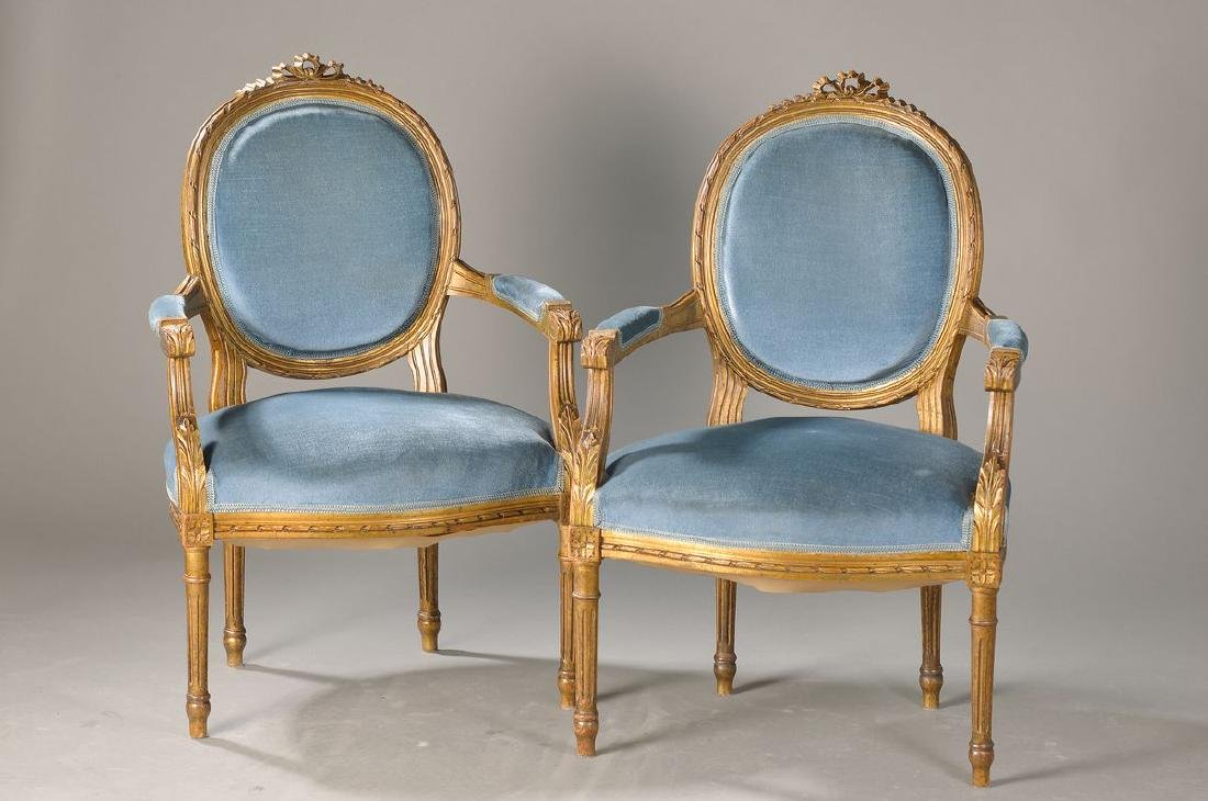 pair of armchairs, France, around 1890, walnut(?) with