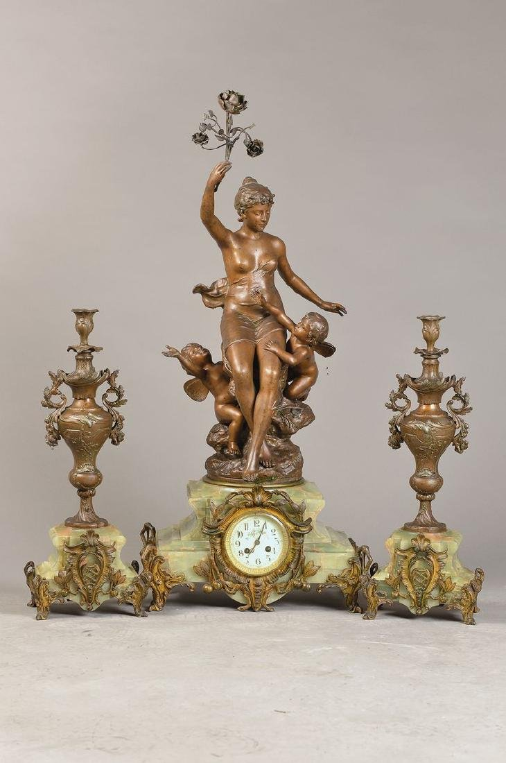 Large Pendulum with figure crest and two side pieces in