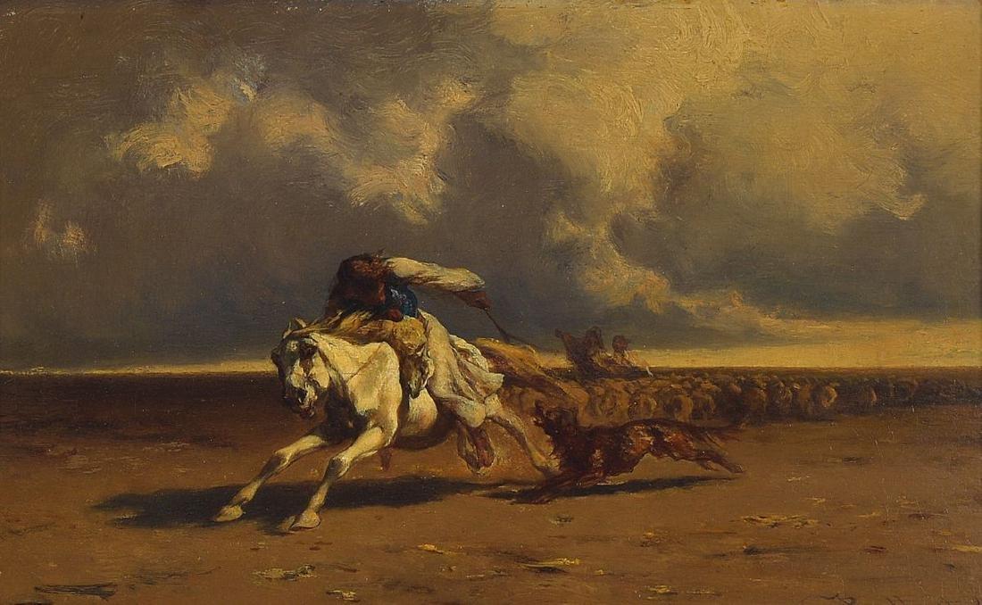 Johann Gualbert Raffalt, 1836-1965, rider repels a
