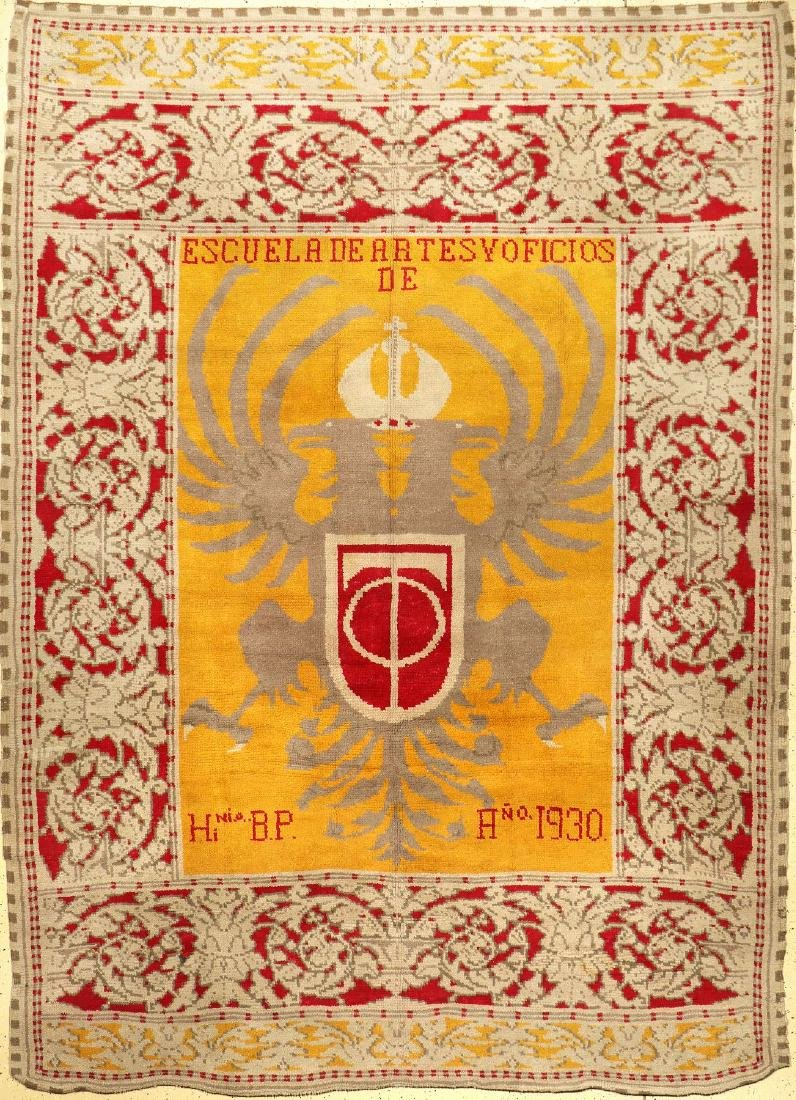 Rare Spanish 'Coat Of Arms' Carpet (Signed & Dated: