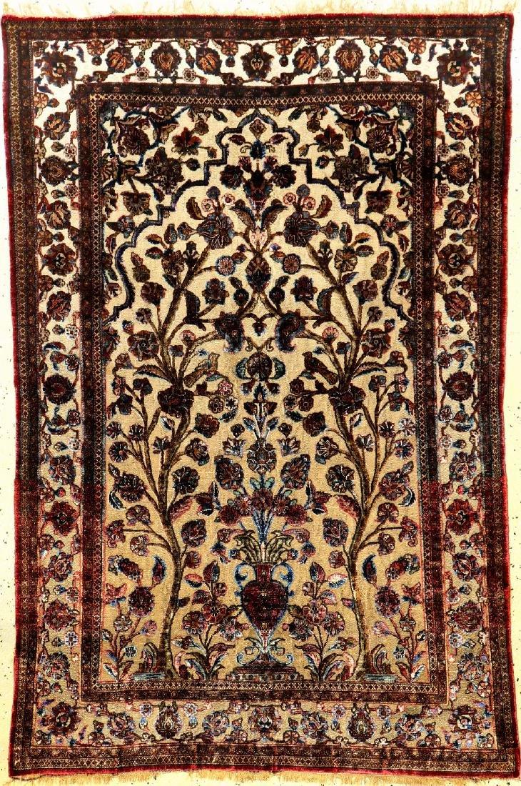 Fine Metal Ground Silk Kashan 'Souf' Rug (Tree Of Life
