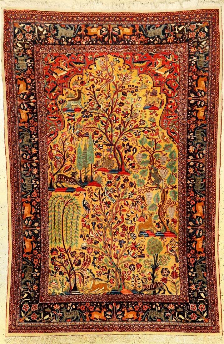 Fine Yellow Ground Kurk Kashan Rug (Paradise- Tree Of