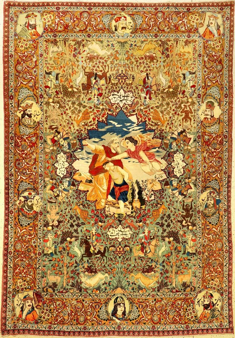 Rare Green Ground Tabriz 'Pictorial Carpet' (Story From
