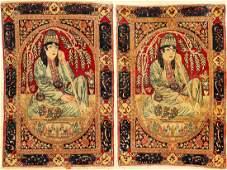 A Pair Of Fine Kirman 'Ravar' Pictorial Rugs (Derwish),