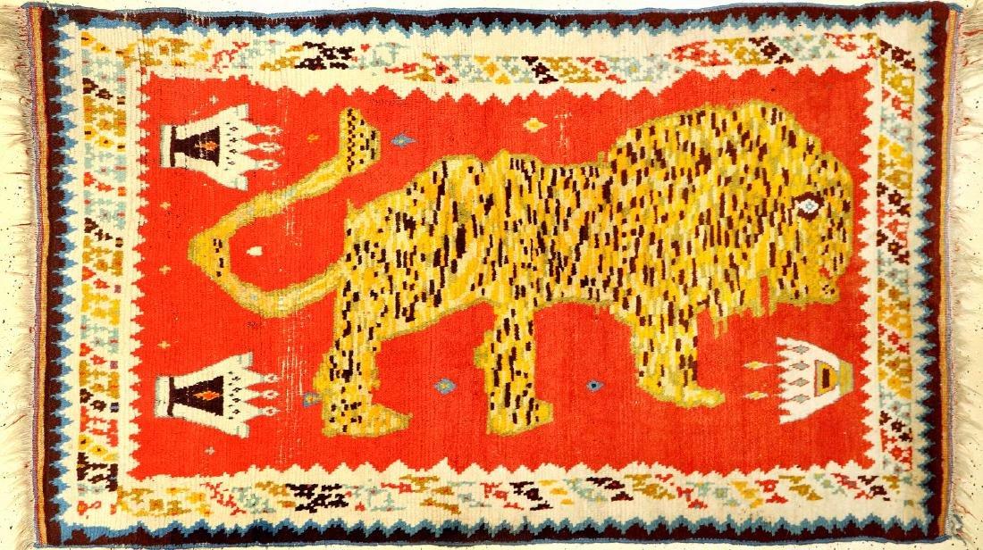 Qashqai Gabbeh 'Lion Rug' With King-Crown (Backside