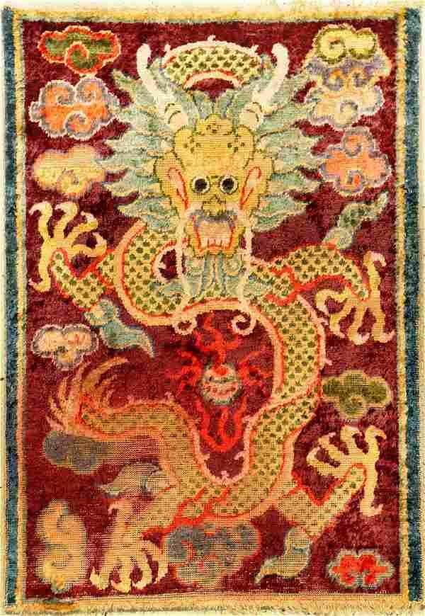 Early Unique Imperial Silk Gansu 'Dragon Rug'