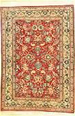 Fine Red Nain Tudeshk (Part-Silk) Rug,
