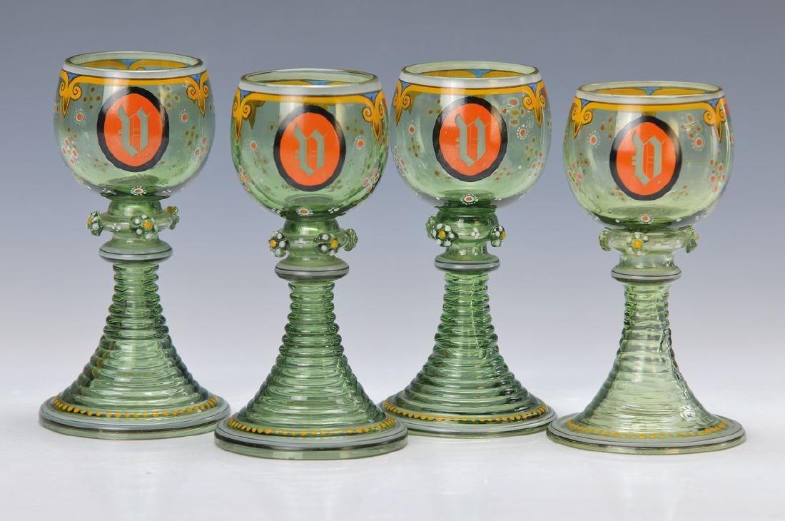 6 wine glasses, German, around 1880-90, green blown