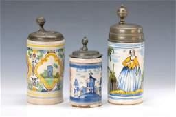 three jugs, German, 18. th c., faience, 1 of Thuringia