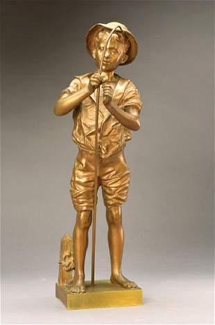 Adolphe Jean Lavergne, 1863 - 1928, Pecheur, bronze