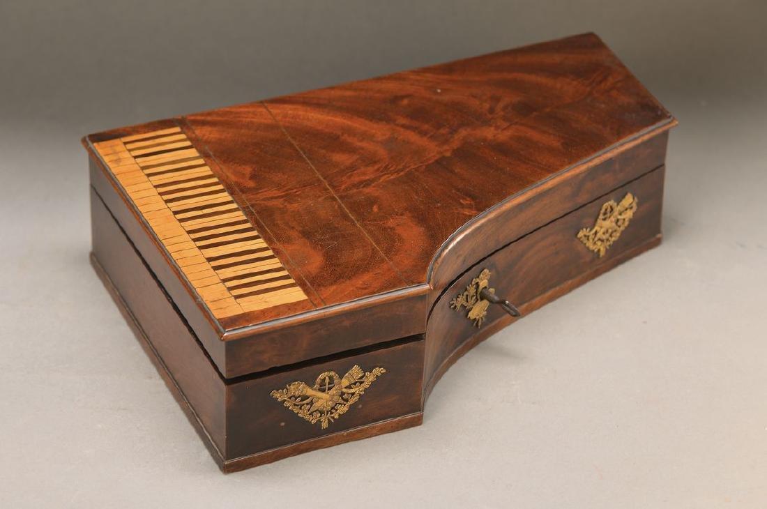 lidded box in shape of a Cembalo, around 1900, mahogany