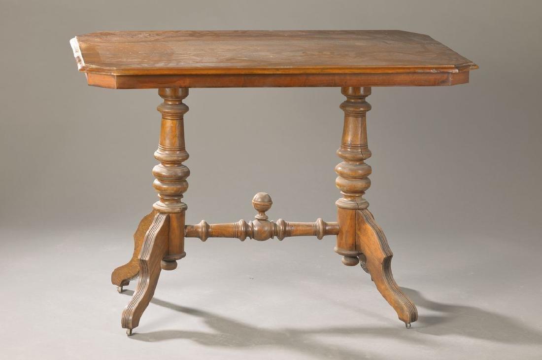 table, German around 1870/80, Walnut massive, walnut